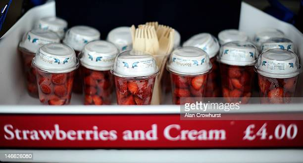 Strawberries and cream for sale during Ladies Day at Royal Ascot at Ascot racecourse on June 21 2012 in Ascot England