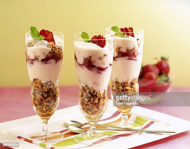 Strawberries and granola yogurt parfaits
