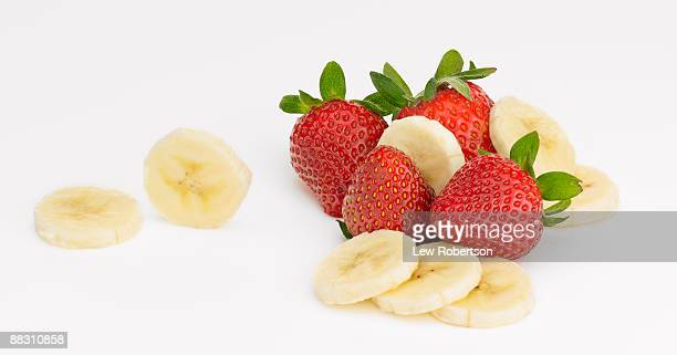 Strawberries and sliced bananas