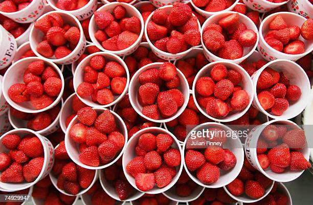 Strawberries are prepared during day three of the Wimbledon Lawn Tennis Championships at the All England Lawn Tennis and Croquet Club on June 27 2007...