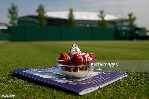 Strawberries at Wimbledon on Day 9 of the 2009 WImbledon Tennis Championships at the All England Lawn Tennis and Croquet Club in Wimbledon London UK