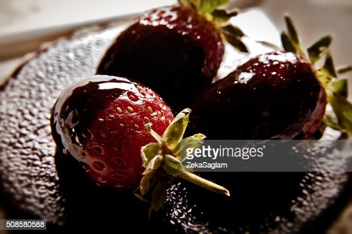 Fragole, cioccolata, torta : Foto stock