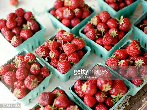 Strawberries on a Farm Stand : Stock Photo