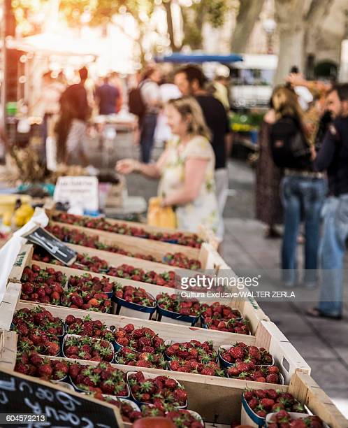 Strawberries on fruit and veg stall in market place, Avignon, Provence, France