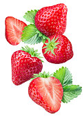 Strawberries on the white background. File contains clipping paths.