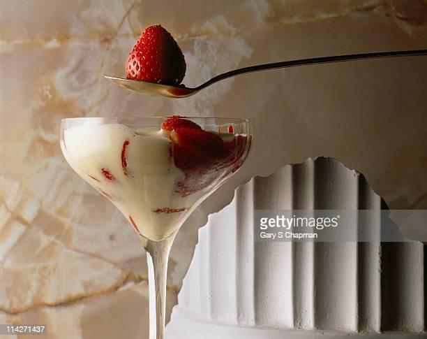 Strawberry and custard dessert
