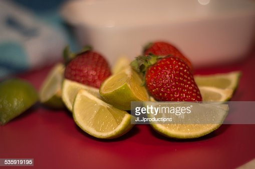 Strawberry and Limes : Stock Photo