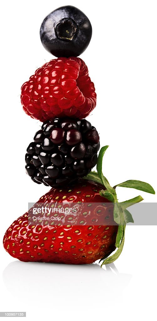 Strawberry, blackberry, rasberry and a blueberry b : Stock Photo