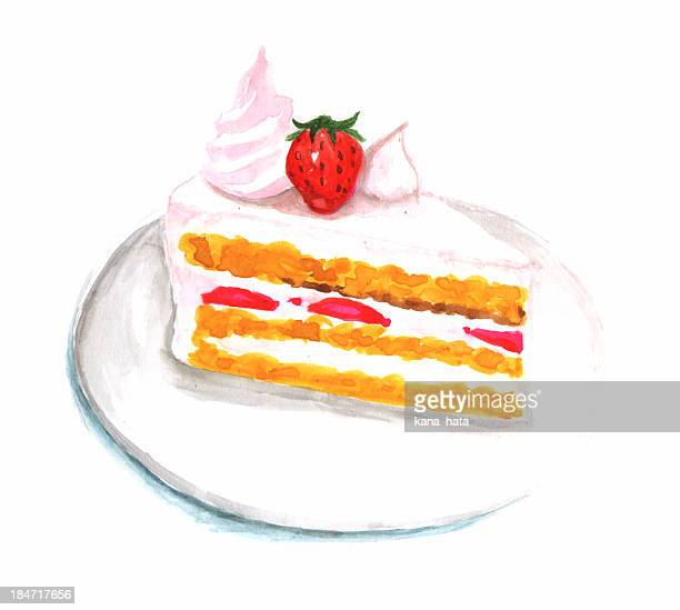 strawberry cake illustration
