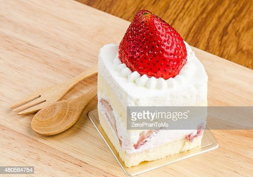 Strawberry cake on wooden background, Cake with strawberries, Pi : Stock Photo