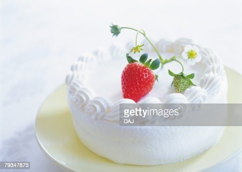 Strawberry Cake With Whipped Cream Stock Photo | Getty Images