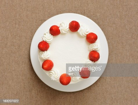 Strawberry cake,aerial view