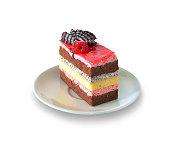 Strawberry cheesecake isolated on white background