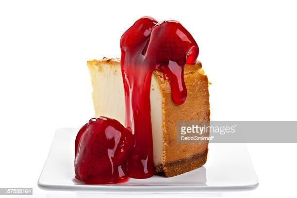 Pastel de queso con fresa vista posterior