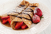 Strawberry crepes breakfast