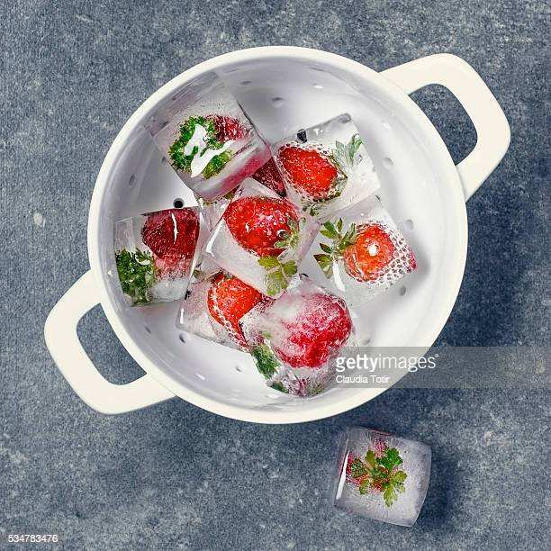 Strawberry frozen ice cubes