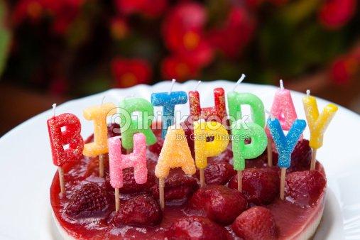 Strawberry Happy Birthday Cake Stock Foto