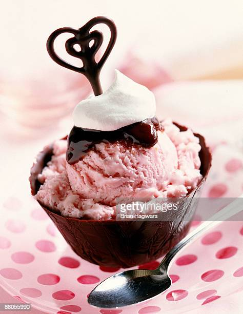 Strawberry ice cream in chocolate cup