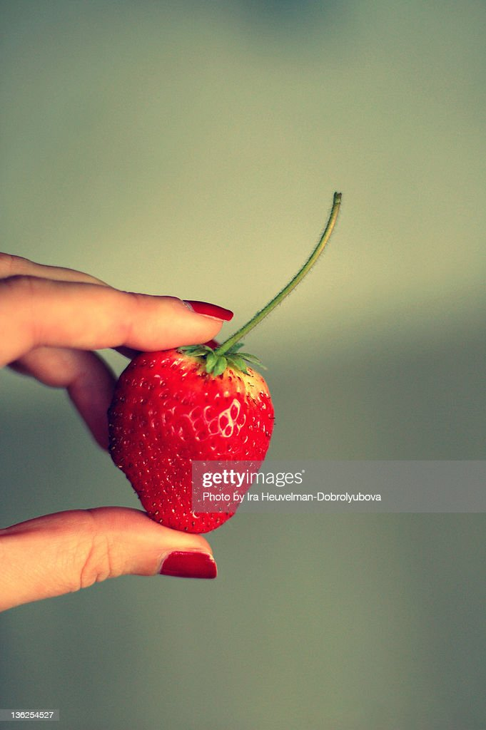 Strawberry in shape of heart : Stock Photo