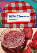 Strawberry jam with label   Glass pot