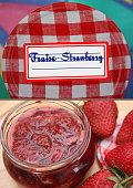 Strawberry jam with label   Glass pot