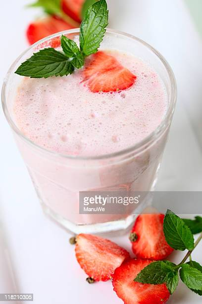 Strawberry Milk Shake with Fresh Fruits