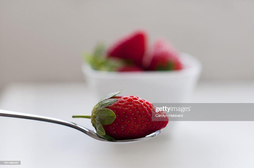 Strawberry on Spoon : Stock Photo