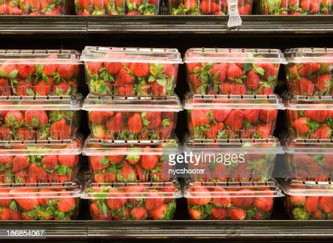 Strawberry on supermarket shelf