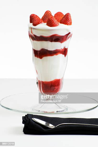 Strawberry parfait, close-up