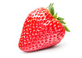 Beautiful Fresh Strawberry Isolated on White Background with Clipping Path.Fresh Yellow Flesh Kiwi Fruit Isolated on White Background.