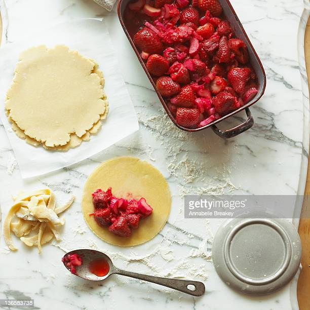Strawberry Pie being prepared on Marble