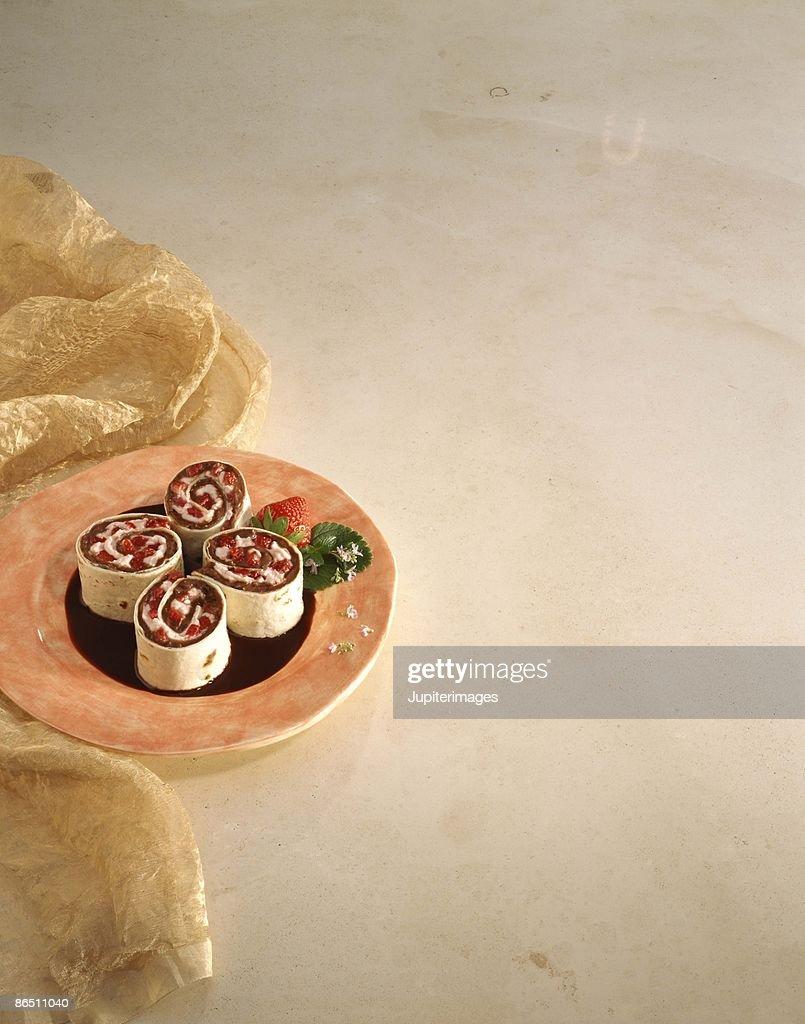 Strawberry pinwheels dessert : Stock Photo