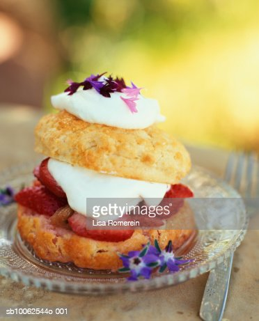 Strawberry rhubarb compote and shortcake : Stock Photo