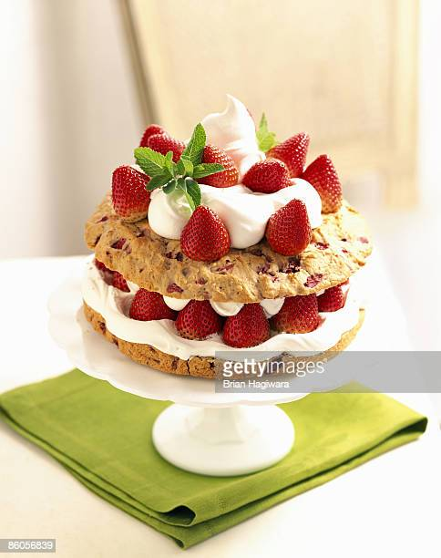 Strawberry shortcake on cake stand
