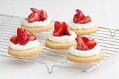 Strawberry shortcakes on a cooling rack, studio shot
