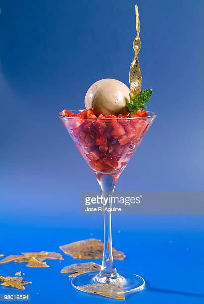 Strawberry sorbet with soothing vinager