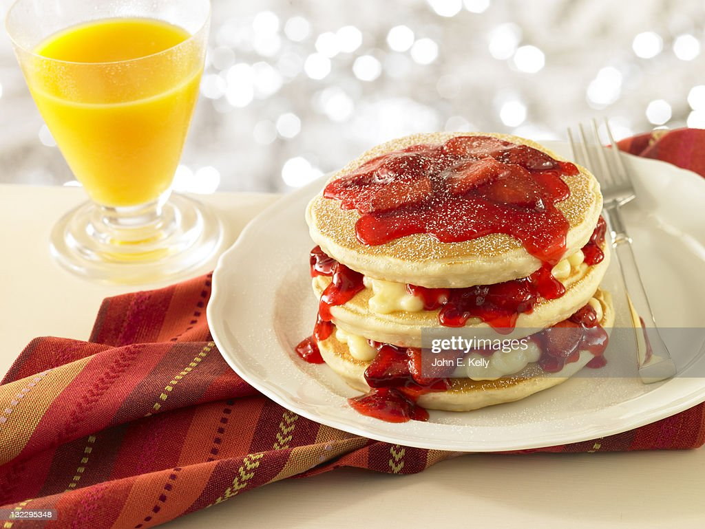 Strawberry Stuffed Pancake Stack : Stock Photo