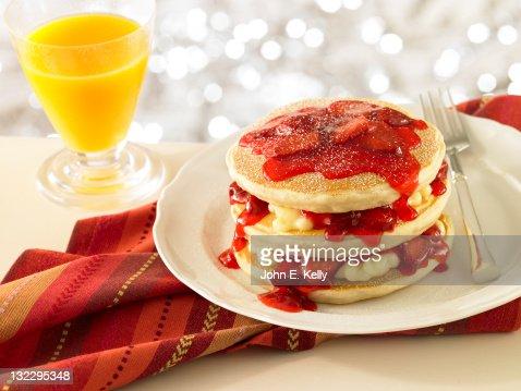 Strawberry Stuffed Pancake Stack : Stock Photo