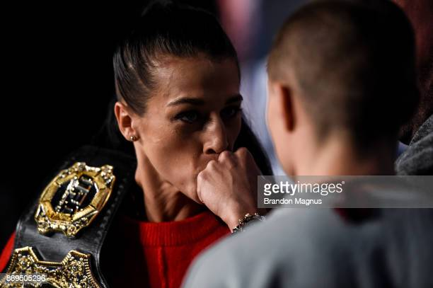 UFC strawweight champion Joanna Jedrzejczyk of Poland and Rose Namajunas face off during the UFC 217 Press Conference inside Madison Square Garden on...