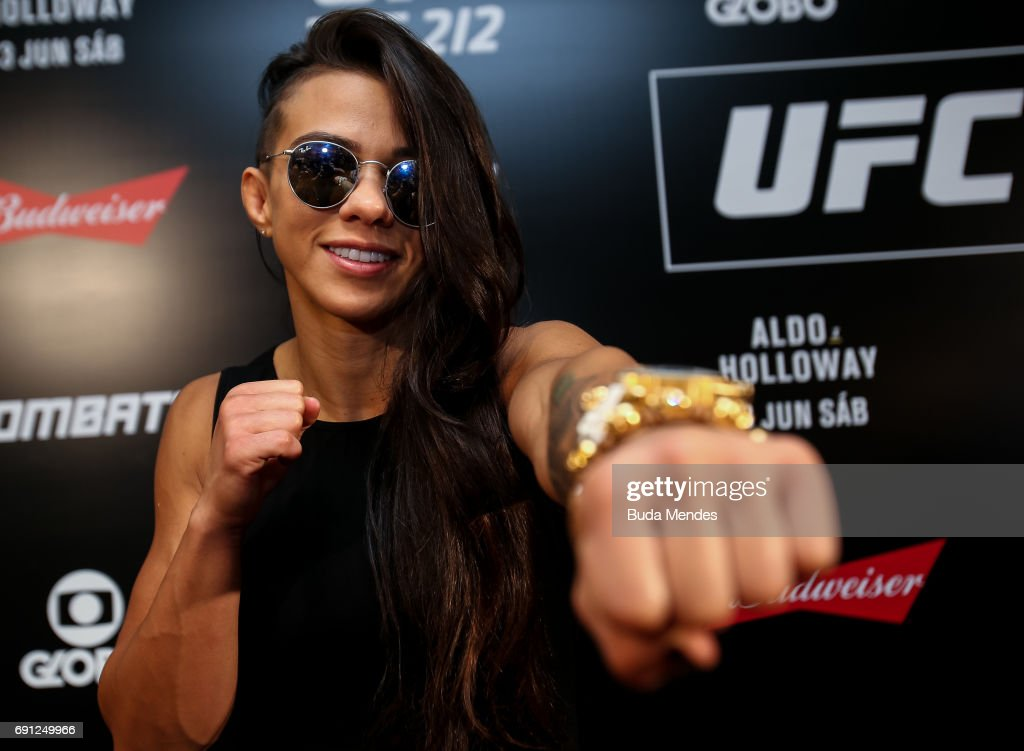 UFC strawweight contender Claudia Gadelha of Brazil pose for photographers during Ultimate Media Day at Windsor Hotel on June 01, 2017 in Rio de Janeiro, Brazil.