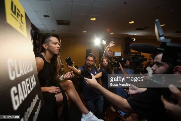 UFC strawweight contender Claudia Gadelha of Brazil speaks to the media during Ultimate Media Day at Windsor Hotel on June 01 2017 in Rio de Janeiro...