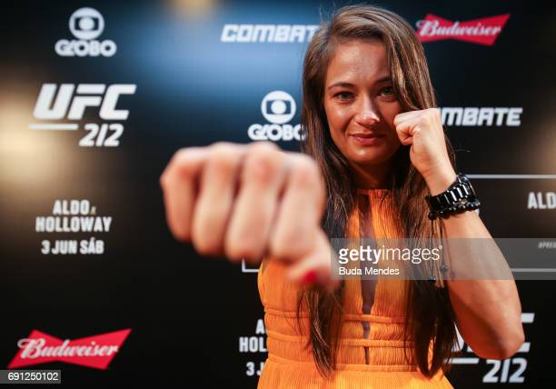 UFC strawweight contender Karolina Kowalkiewicz of Poland pose for photographers during Ultimate Media Day at Windsor Hotel on June 01 2017 in Rio de...