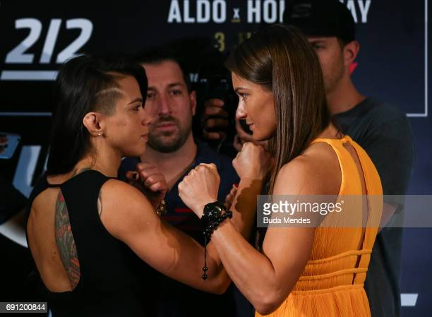 UFC strawweight fighters Claudia Gadelha of Brazil and Karolina Kowalkiewicz of Poland face off during Ultimate Media Day at Windsor Hotel on June 01...