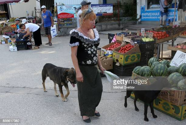 Stray dogs stroll by the street market in Sevastopol Crimea August 19 2017 Poster reads 'Sevastopol is outpost of the future of Russia' Sevastopol is...