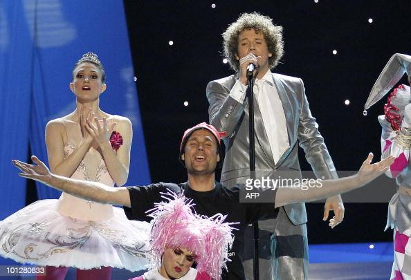 A streaker appears on stage as Spain's Daniel Diges performs his song 'Algo Pequeñito ' during the Eurovision Song Contest 2010 final at the Telenor...