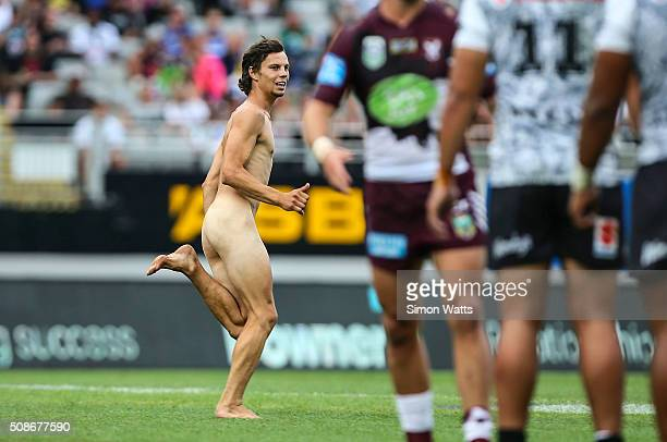 A streaker during the 2016 Auckland Nines match between the Warriors and the Sea Eagles at Eden Park on February 6 2016 in Auckland New Zealand
