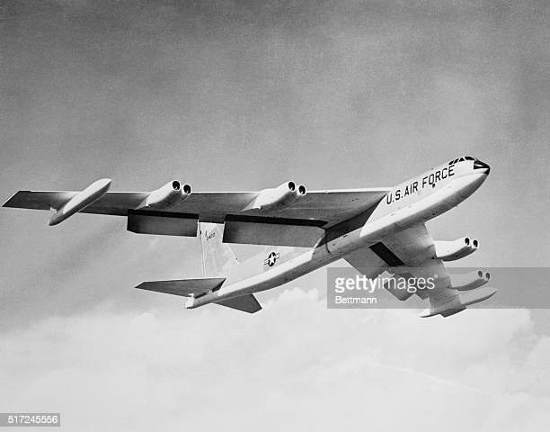 Streaking by in a test flight is the new B52C latest in the eightjet000pound Boeing Stratofortress series prior to its delivery to the US Air Force...