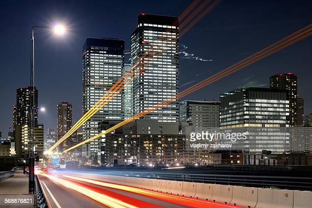 Stream of lights thru Tokyo's cityscape