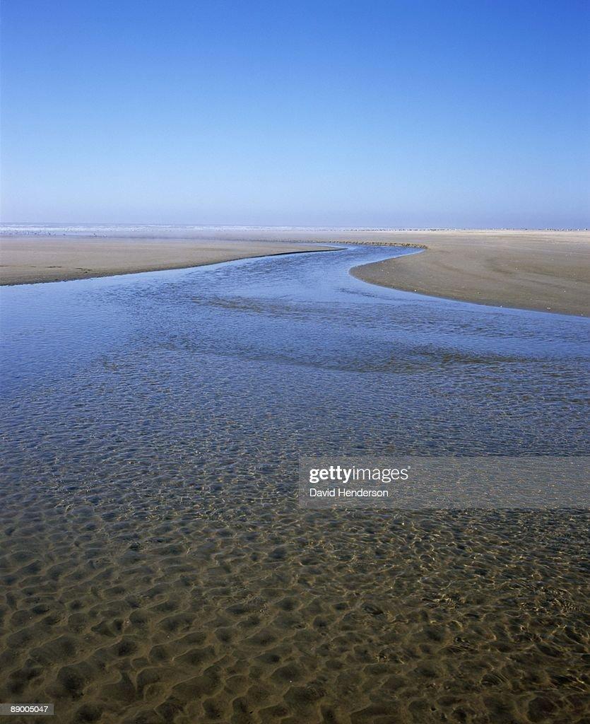 Stream on beach, Oregon : Stock Photo