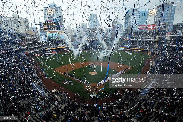 Streamers are released over the stadium during home oening day ceremonies before the game between the Atlanta Braves and the San Diego Padres on...